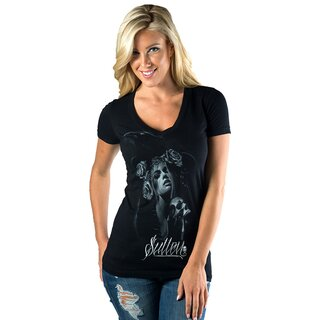 Sullen Angels Girlie V-Neck T-Shirt - Ortega Ink