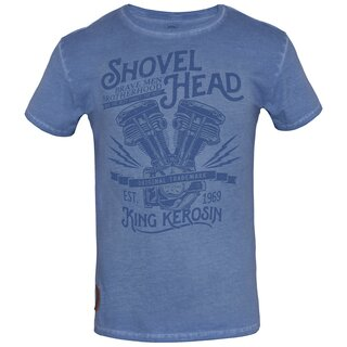 King Kerosin Oilwashed T-Shirt - Shovel Head Hellblau