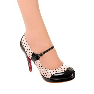 Dancing Days High Heel Pumps - Mary Jane Polka Dot Black