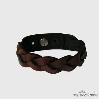 Leather bracelet - Brown Braid
