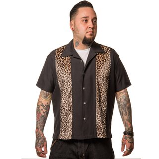 Steady Clothing Vintage Bowling Shirt - Leopard Panel