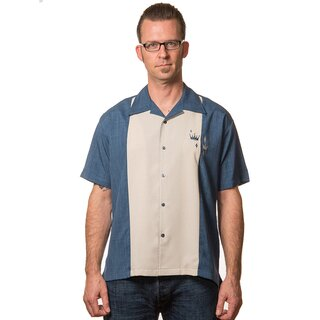 Steady Clothing Vintage Bowling Shirt - Contrast Crown Blau