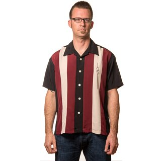 Steady Clothing Vintage Bowling Shirt - The Sheen Dunkelrot