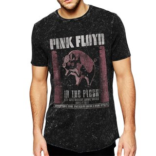 Pink Floyd T-Shirt - In The Flesh Poster Acid Wash