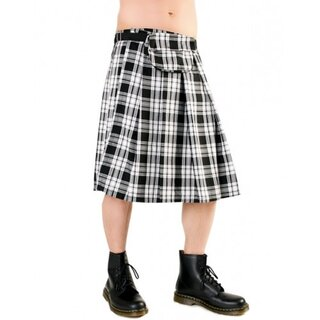 Black Pistol Kilt - Short Kilt Tartan Black-White