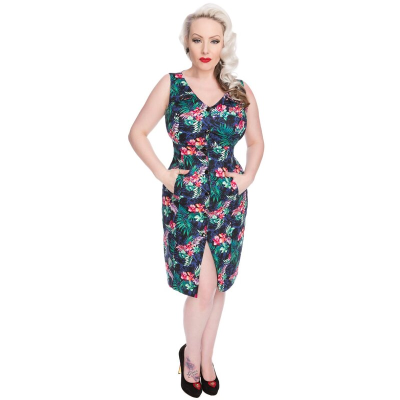 H&R London Vintage Kleid - Asiatic Lilies 40