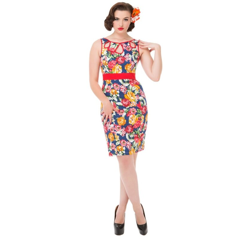 H&R London Vintage Kleid - Tropical Floral 38