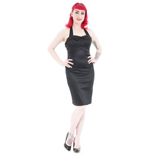 H&R London Neckholder Bleistiftkleid - Ebony 40s 36