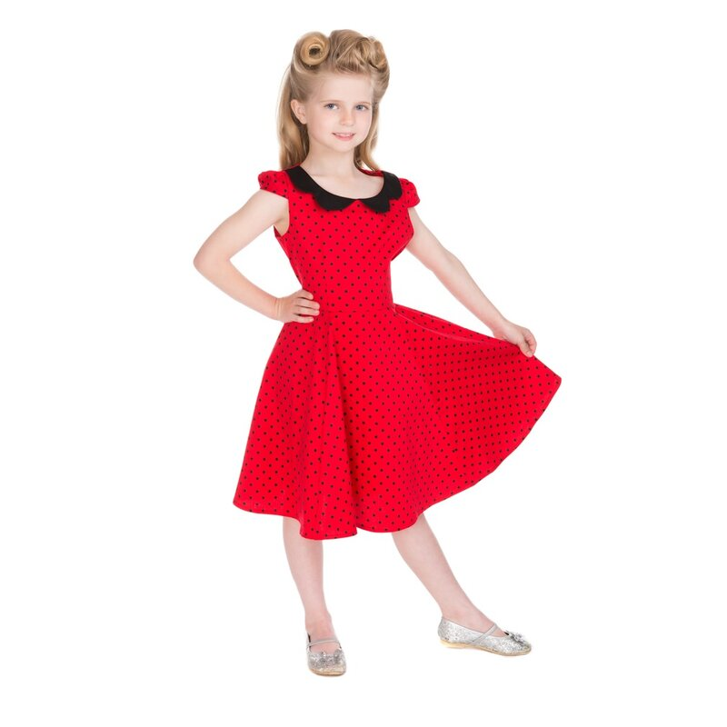 H&R London Kinder Kleid - Polka Dot Rot 7-8 Jahre