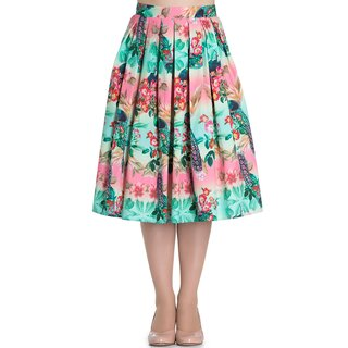 Hell Bunny Pleated Skirt - Peacock