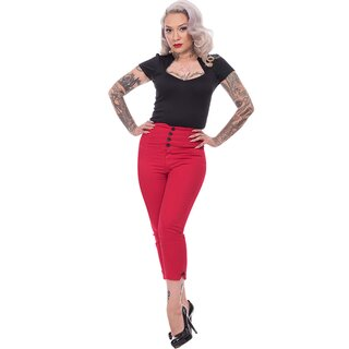 Steady Clothing High Waist Capri Trousers - Sparrow Red