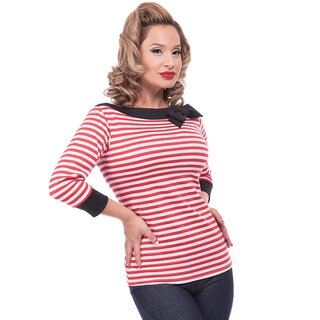 Steady Clothing Bluse - Striped Boatneck Rot
