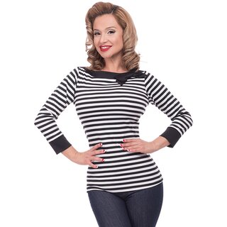 Steady Clothing Bluse - Striped Boatneck Schwarz