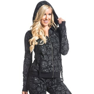 Sullen Angels Hooded Jumper - Flocked Skull