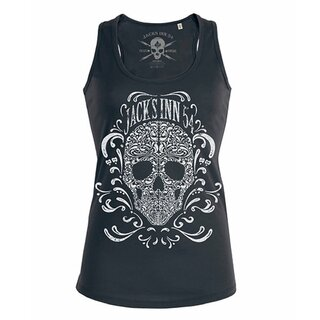 Jacks Inn 54 Ladies Tank Top - Flourish Skull Black
