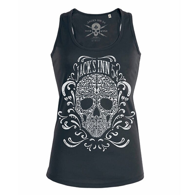 Jacks Inn 54 Damen Tank Top - Flourish Skull Schwarz M