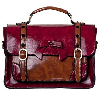 Banned Handbag - Leather Bow Light Red