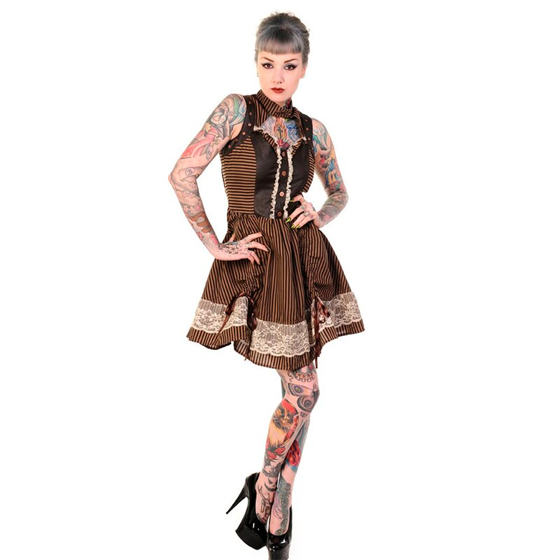 Banned Steampunk Minikleid - Victorian Trim L