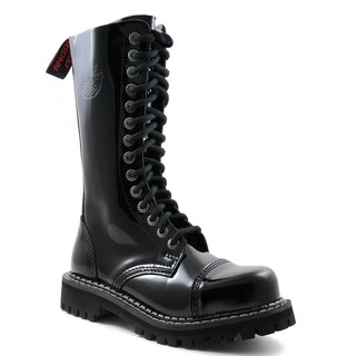 Angry Itch Patent Leather Boots - 14-Eye Ranger Black