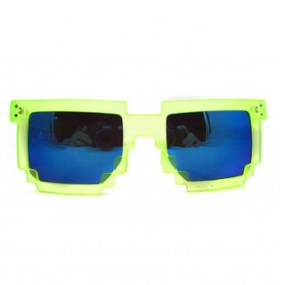 Geek Invader Pixel Glasses - 8-Bit Neon-Yellow