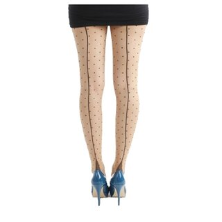 Pamela Mann Tights - Jive Seamed Dotty Nude Black