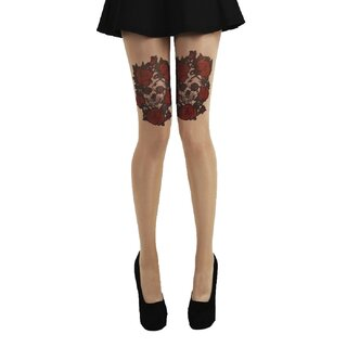Pamela Mann Tights - Skull & Red Roses