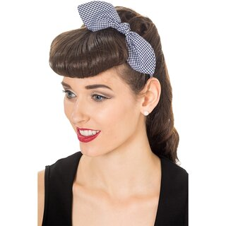 Banned Headband - Riley Gingham Navy Blue