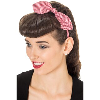 Banned Headband - Riley Gingham Red