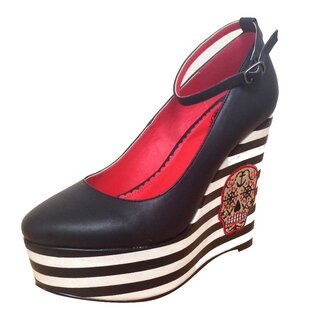 Dancing Days Platform Wedge Pumps - Sugar Skull