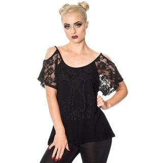Banned Lace Shoulder Top - Aura Black