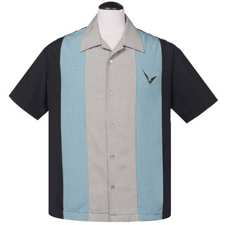 Steady Clothing Vintage Bowling Shirt - Mad Atomic Men Blau