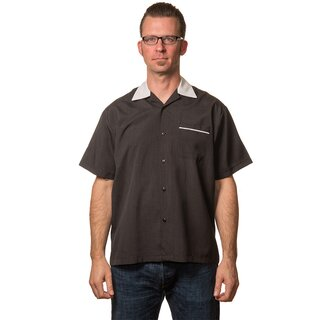 Steady Clothing Vintage Bowling Shirt - Bowler Schwarz