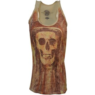 Queen Kerosin Ladies Tank Top - Soul Skull Yellow