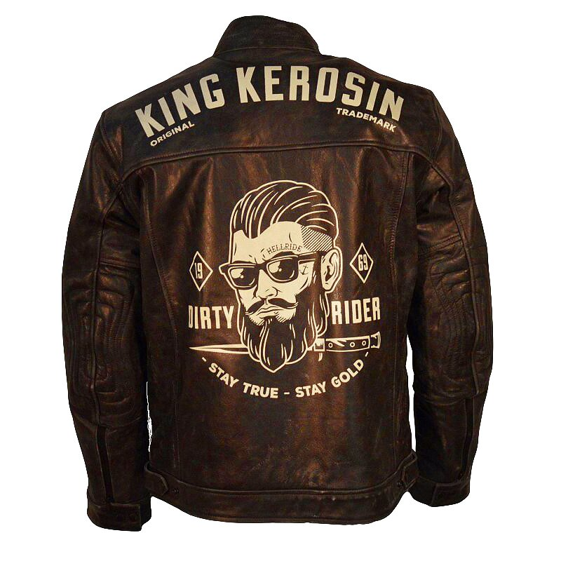king kerosin biker leather jacket dirty rider brown. Black Bedroom Furniture Sets. Home Design Ideas