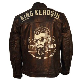 King Kerosin Biker Lederjacke - Dirty Rider Braun