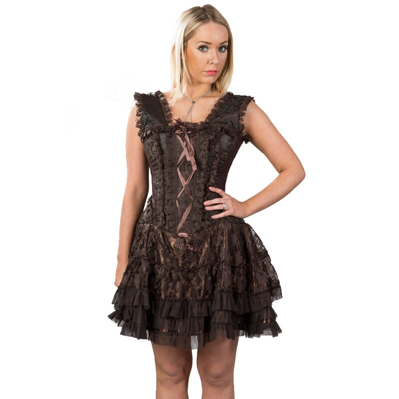 Burleska Korsett Mini Kleid - Jasmin Brocade King Braun 44 ...