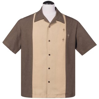 Steady Clothing Vintage Bowling Shirt - The Crosshatch Brown