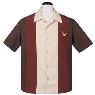 Steady Clothing Vintage Bowling Shirt - Mad Atomic Men Brown
