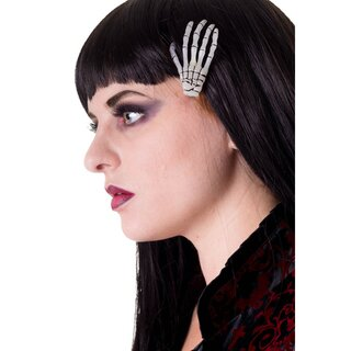 Banned Hair Clip - Skeleton Hand White