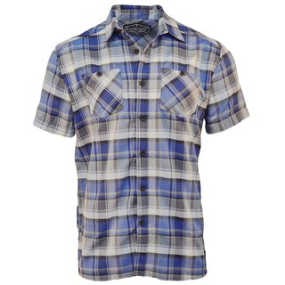 King Kerosin Kurzarm kariertes Hemd - Plaid Shirt Blau