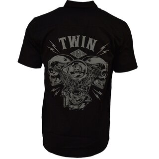 King Kerosin Shortsleeve Worker Shirt - V Twin Skull
