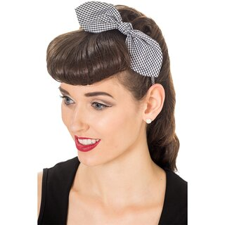 Banned Headband - Riley Gingham Black