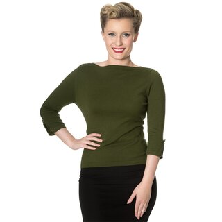 Banned Vintage Ladies Jumper - Addicted Sweater Olive Green