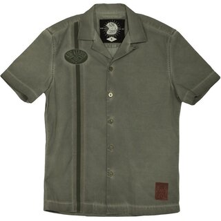 King Kerosin Dragstrip Worker Shirt - Blanko Olive Green