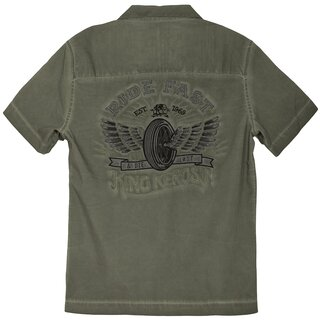 King Kerosin Dragstrip Worker Shirt - Ride Fast Olive Green