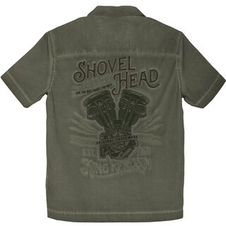 King Kerosin Dragstrip Worker Shirt - Shovel Head Olive...