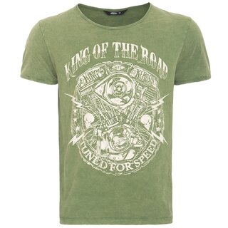 King Kerosin Vintage T-Shirt - Motor Green