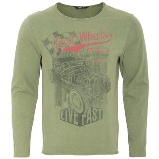 King Kerosin Vintage Longsleeve Shirt - Road Power Green