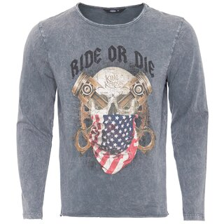King Kerosin Vintage Langarm Shirt - Ride Or Die Grau