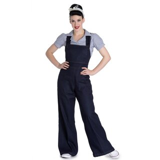 Hell Bunny Dungarees - Emmeline Navy Blue